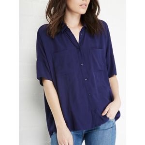 Very J Blue Button Down Top DailyLook